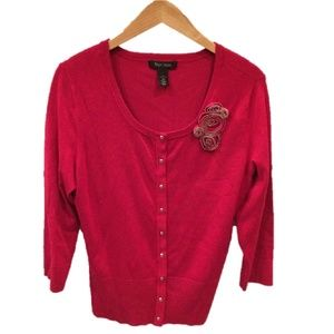 WHBM Cranberry Red Cardigan with Flower Detail